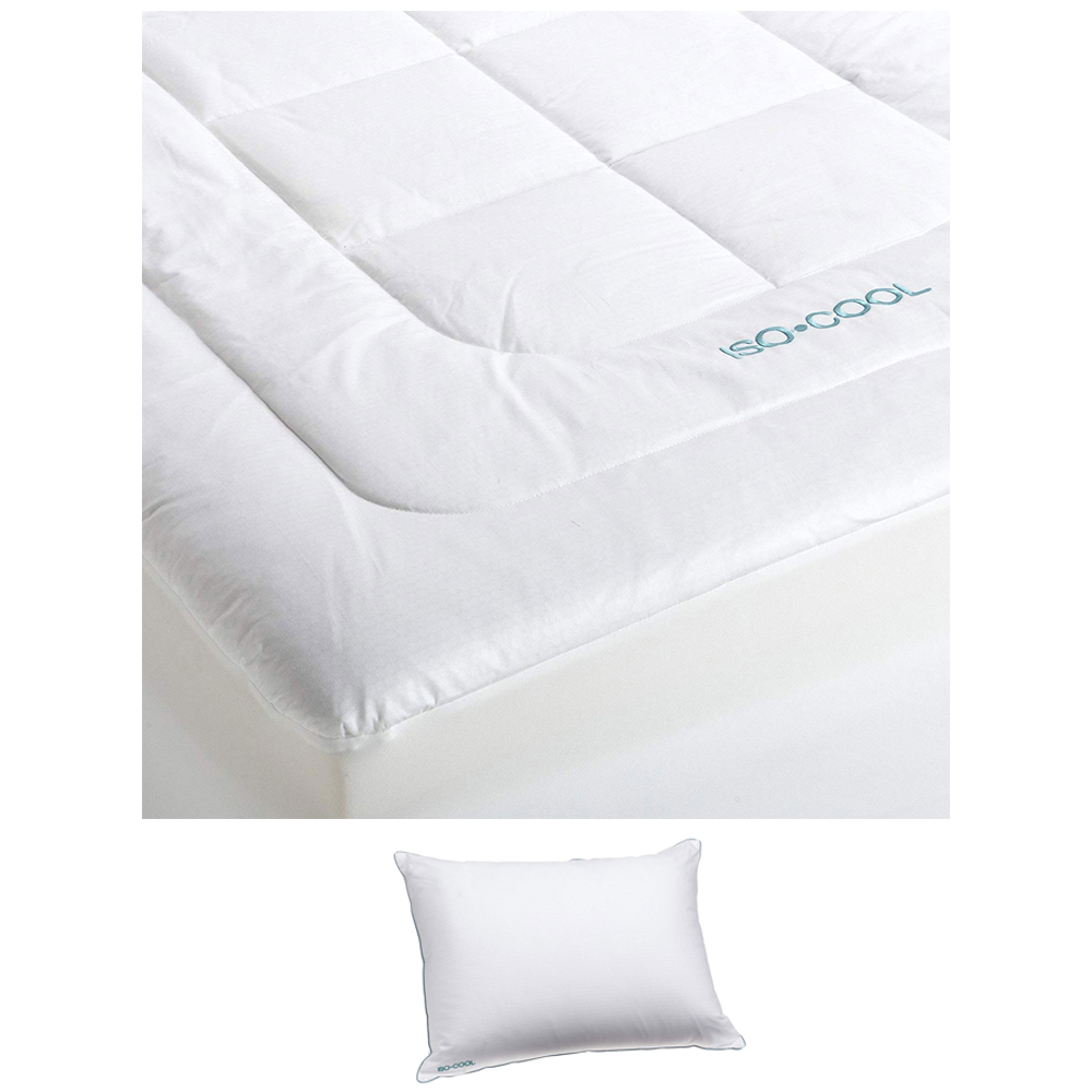 sleepbetter iso cool memory foam mattress topper queen with isotonic iso cool polyester pillow queen