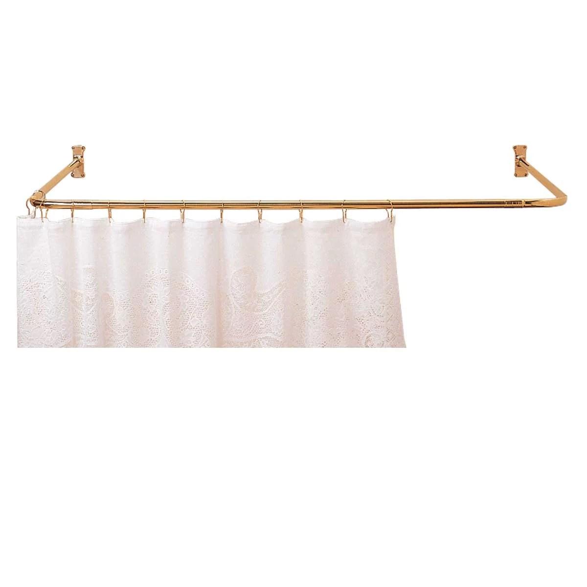 shower curtain rod bright solid brass 3 sided renovator s supply walmart com