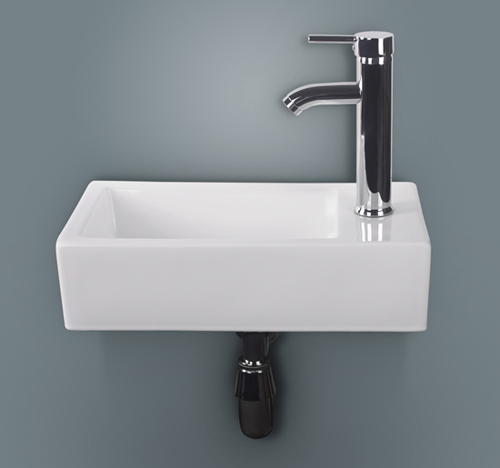 wonline rectangular white porcelain ceramic wall mounted bathroom vessel sink without overflow equipped with chrome faucet pop up drain combo right