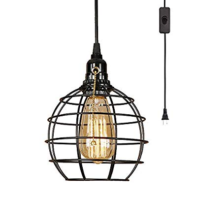 retro industrial globe plug in swag lamp light fixture with 15 ft cord on off switch edison 1 light great for home decor diy projects