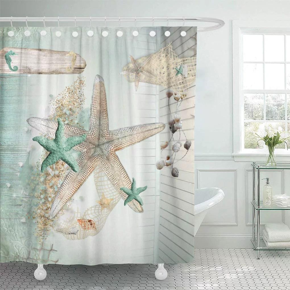 atabie starfish sea life treasures sand seashells stars horses beach shower curtain 66x72 inch