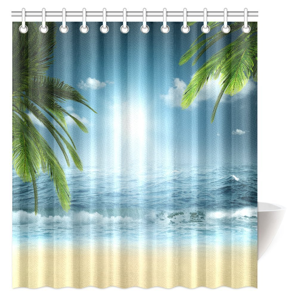 mypop ocean beach theme decorations shower curtain beach sunset ocean bathroom decor shower curtain set with hooks 66 x 72 inches long