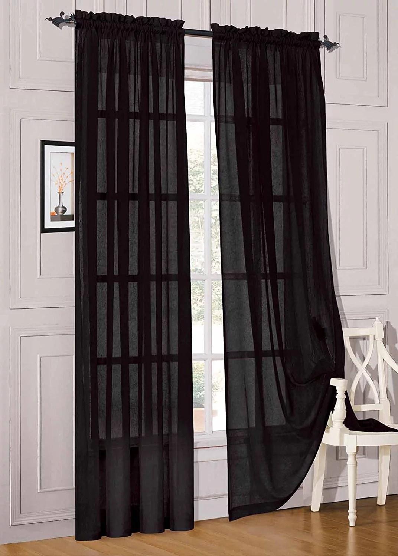 elegant comfort 2 piece solid sheer panel with rod pocket window curtain 40 inch width x 84 inch length black walmart com
