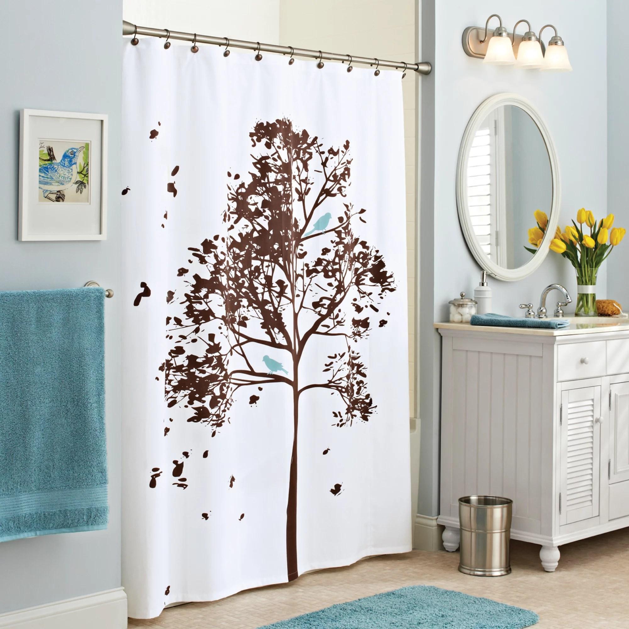 better homes gardens farley tree fabric shower curtain brown 70 x 72 walmart com
