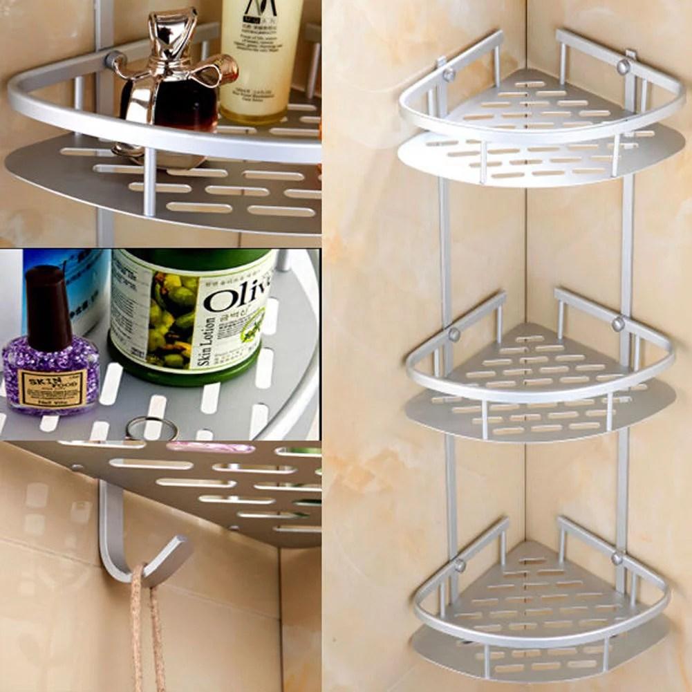 3 Tier Corner Shower Caddy Basket Bathroom Chrome Cosmetic ... on Bathroom Corner Shelf  id=21067