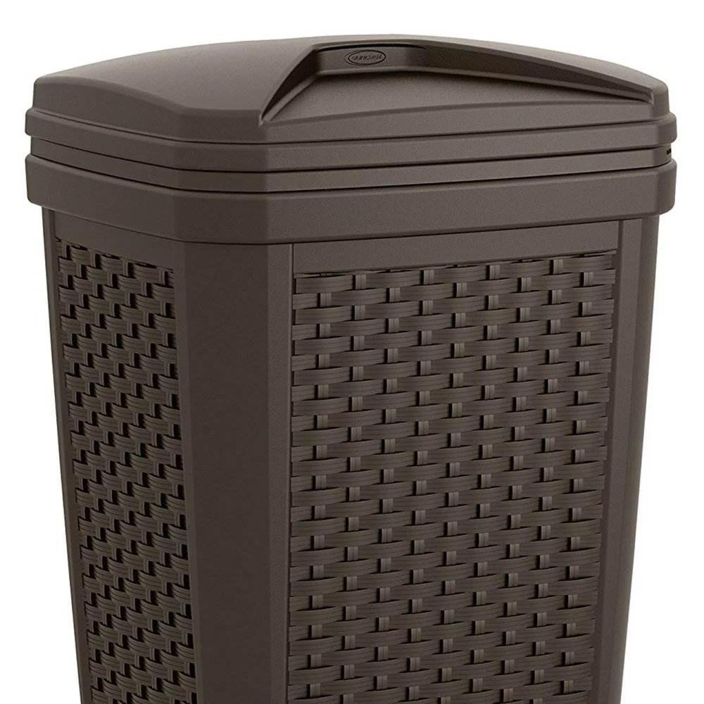 suncast 30 gallon resin wicker outdoor patio trash hideaway java 3 pack walmart com