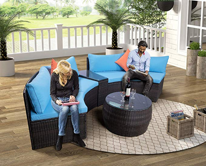 2021 patio furniture sofa sets 4pcs half moon rattan brown wicker patio set sectional sofa with pillows coffee table outdoor conversation sets