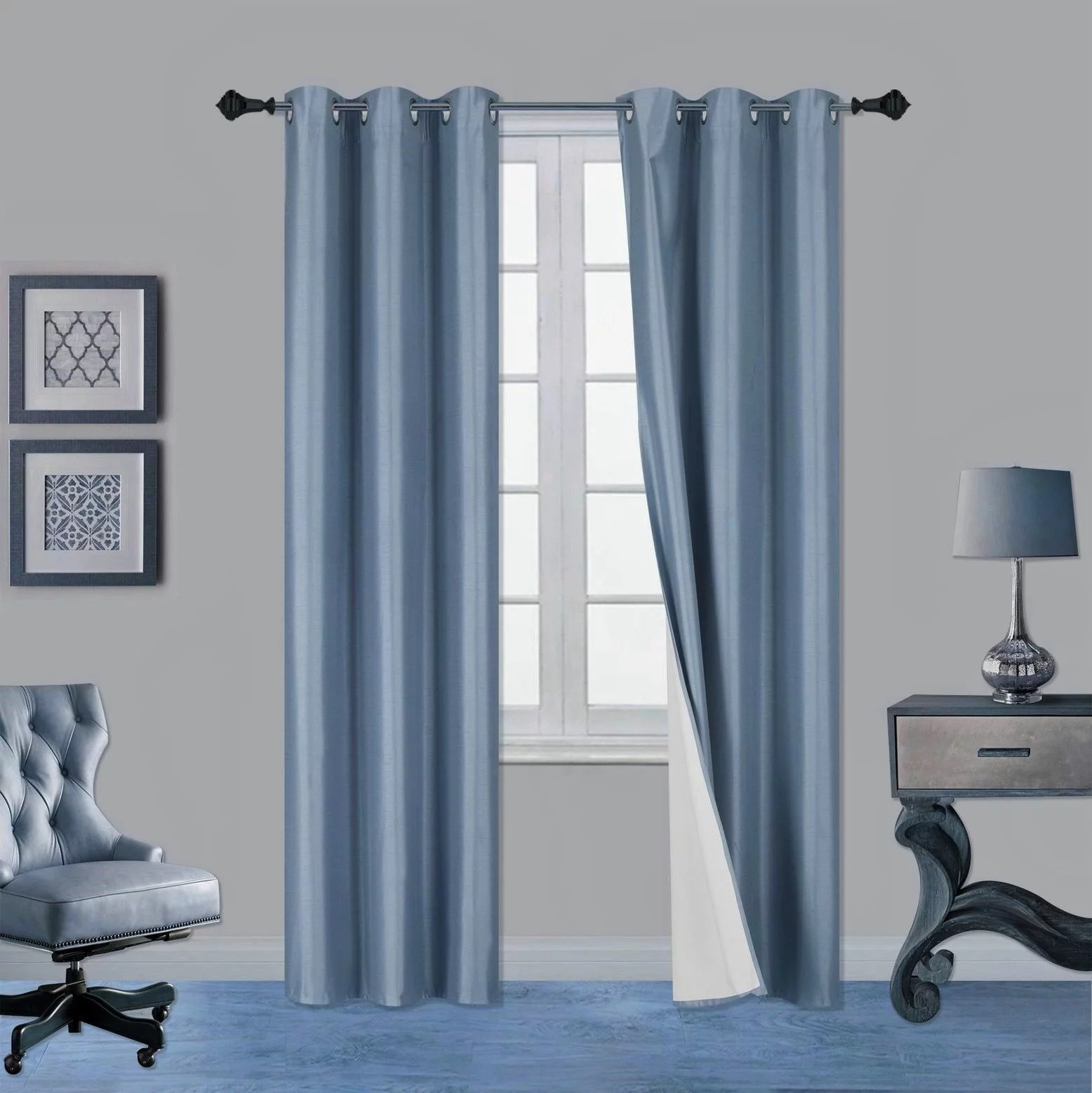 1 pair slate blue noa 84 length insulated lined 100 heavy thick blackout silver grommet window curtain panels drapes not see through energey saving