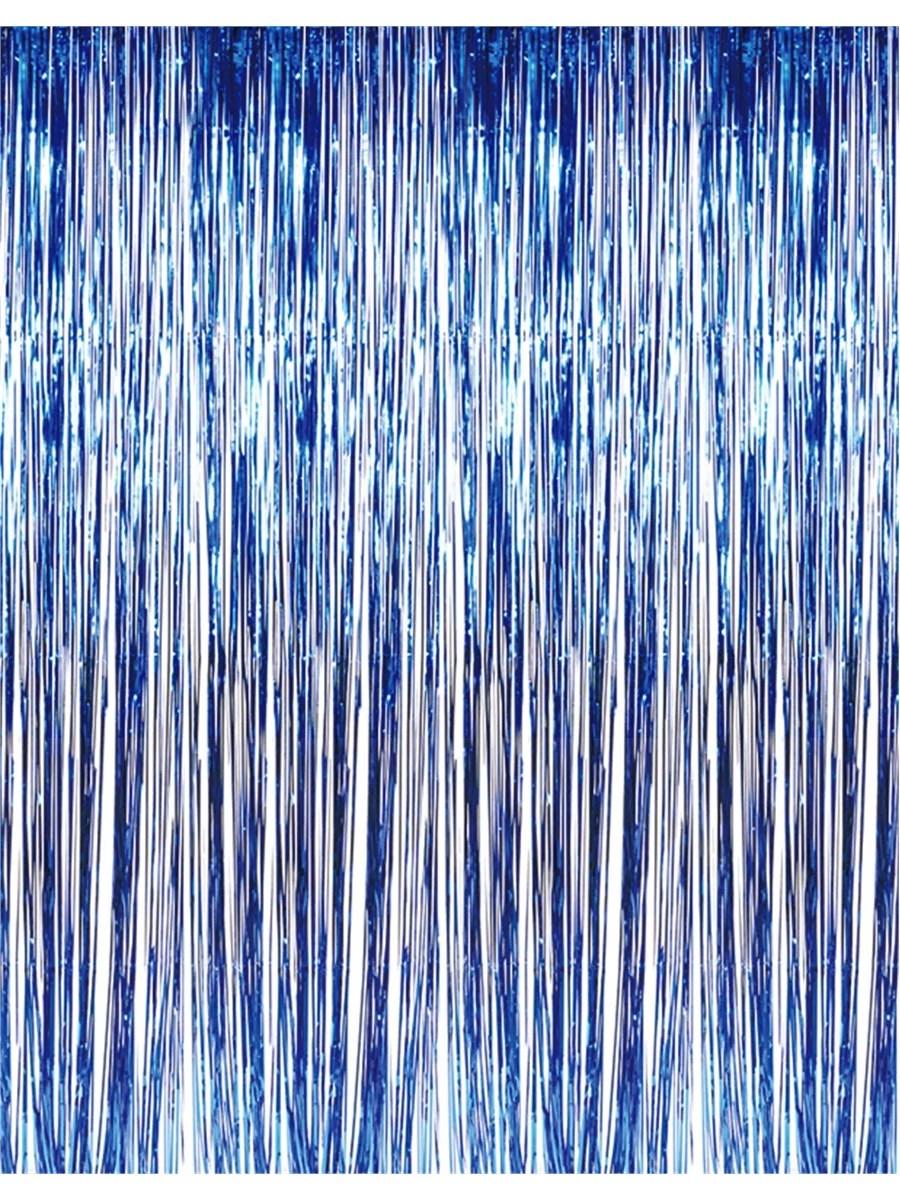 3 x 8 blue tinsel foil fringe door window curtain party decoration