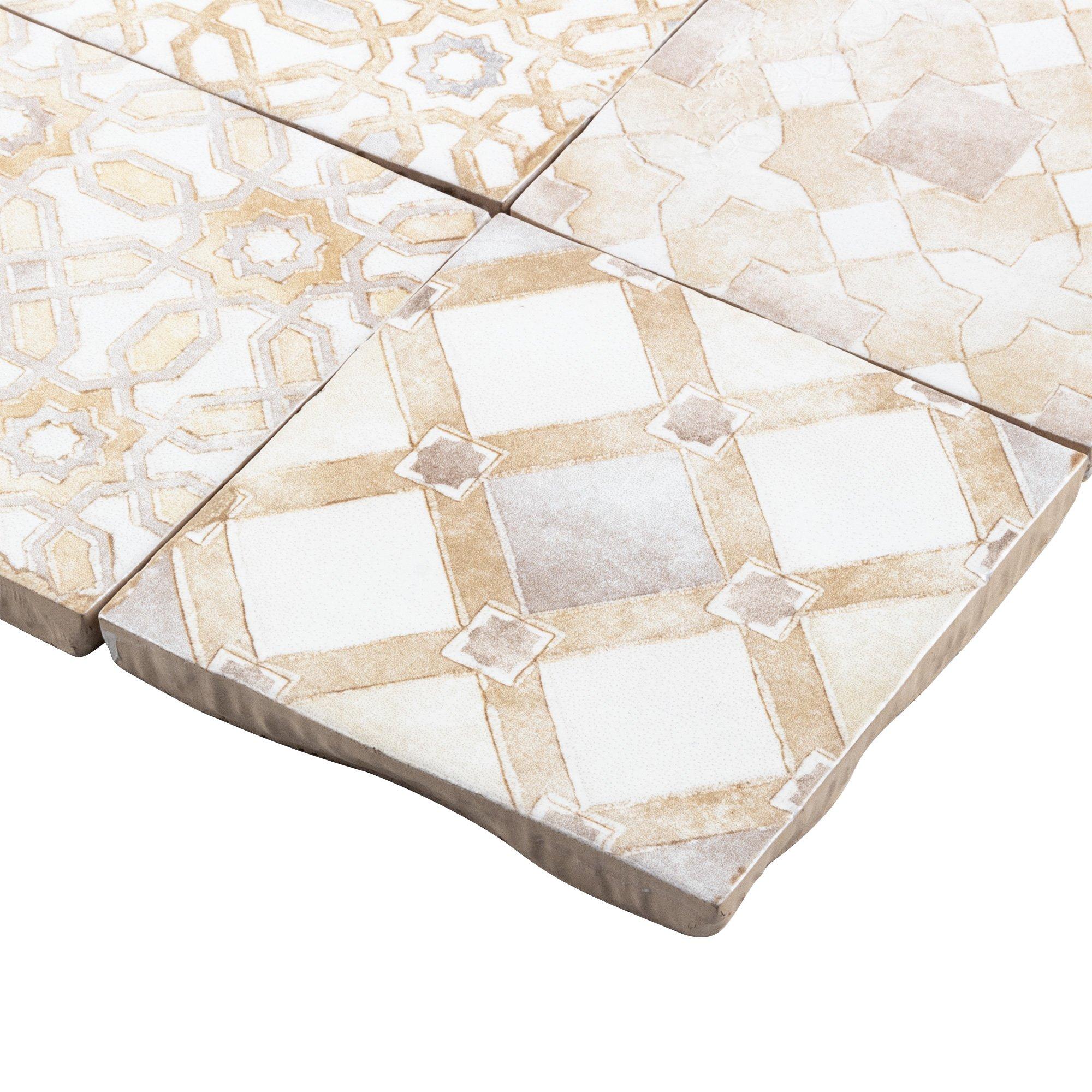 mto0571 modern 4x4 white beige multi pattern distressed glossy ceramic tile walmart com