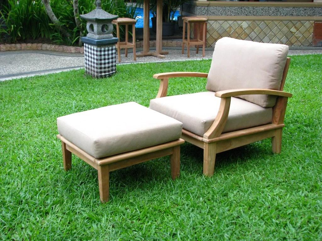 wholesaleteak outdoor patio grade a teak wood 2 piece teak lounge chair set 1 lounge chair and 1 ottoman furniture only somer collection wmsssa1