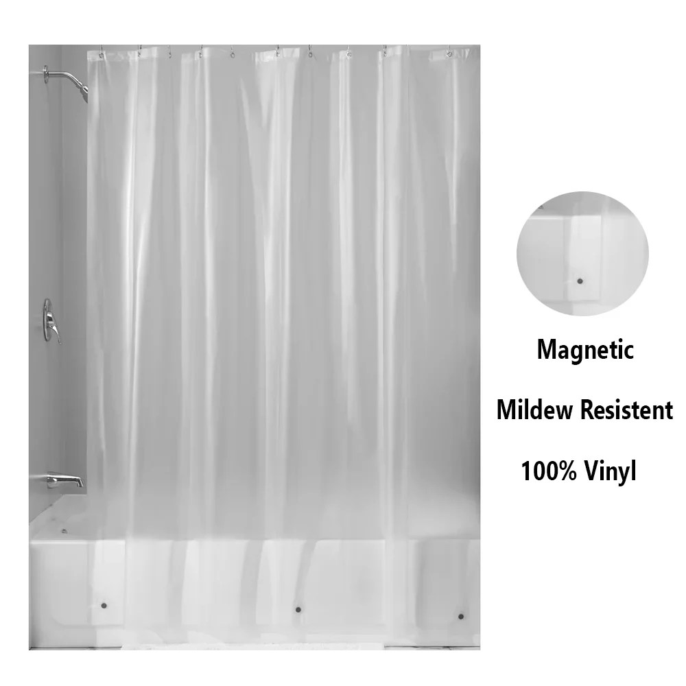 magnetic mildew resistant shower curtain liner 100 vinyl heavy duty clear 70x72 walmart com