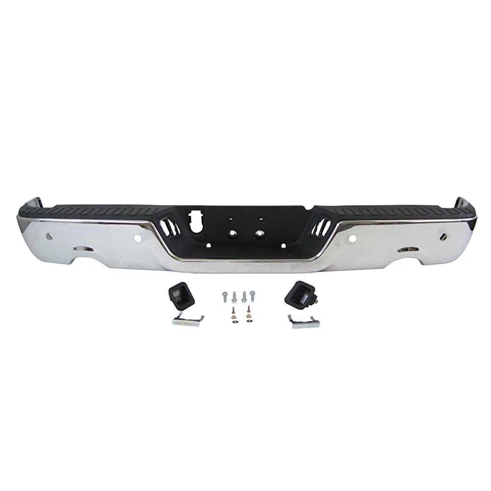 2009 2013 dodge ram pickup 1500 rear step bumper chrome assy w sensor hole w dual exhaust cut outs ch1103119