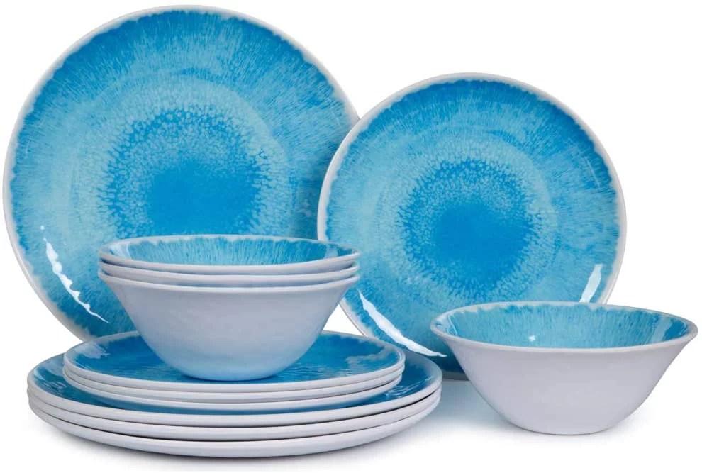 melamine dinnerware set for 4 12pcs dinnerware dishes set for indoor and outdoor use dishwasher safe blue walmart com