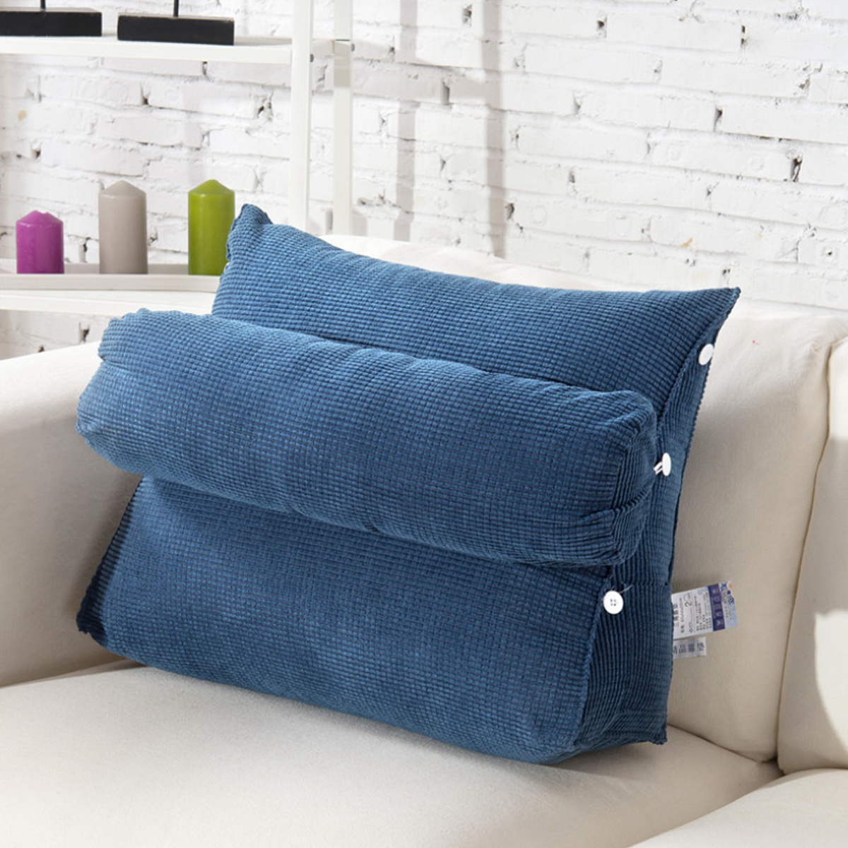 wedge backrest pillow back lumbar support pillow bedrest pillows with 3 heights adjustable neck roll for reading or relaxing in bed floor or sofa