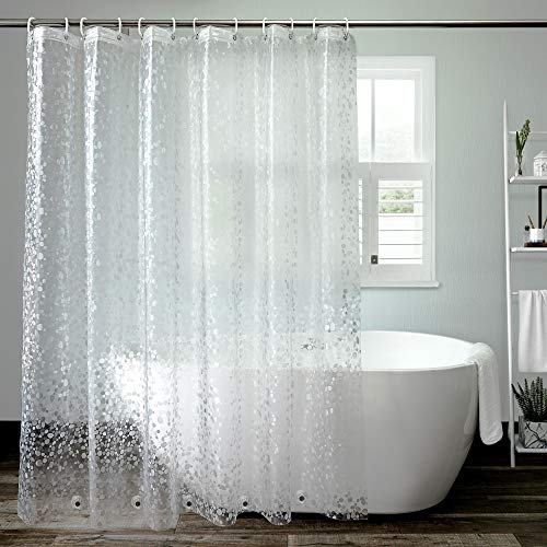 aoohome eva pebble decor shower curtain liner extra long bathroom curtain with 3 bottom magnets semi transparent waterproof 72 x 96 inch
