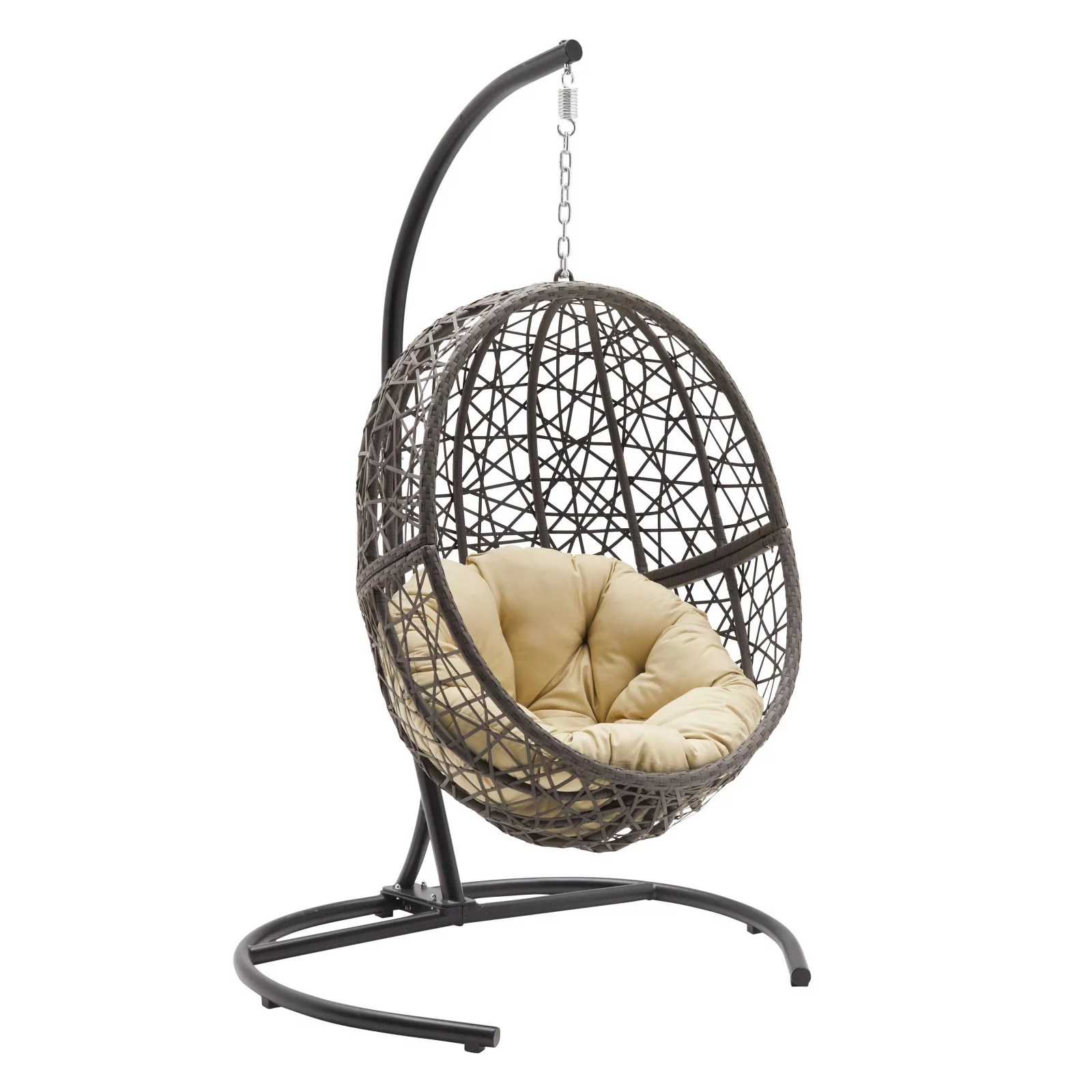 Belham Living Resin Wicker Hanging Egg Chair With Cushion And Stand Walmart Com Walmart Com