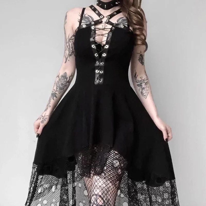 women sleeveless vintage clothes gothic lace up party dress