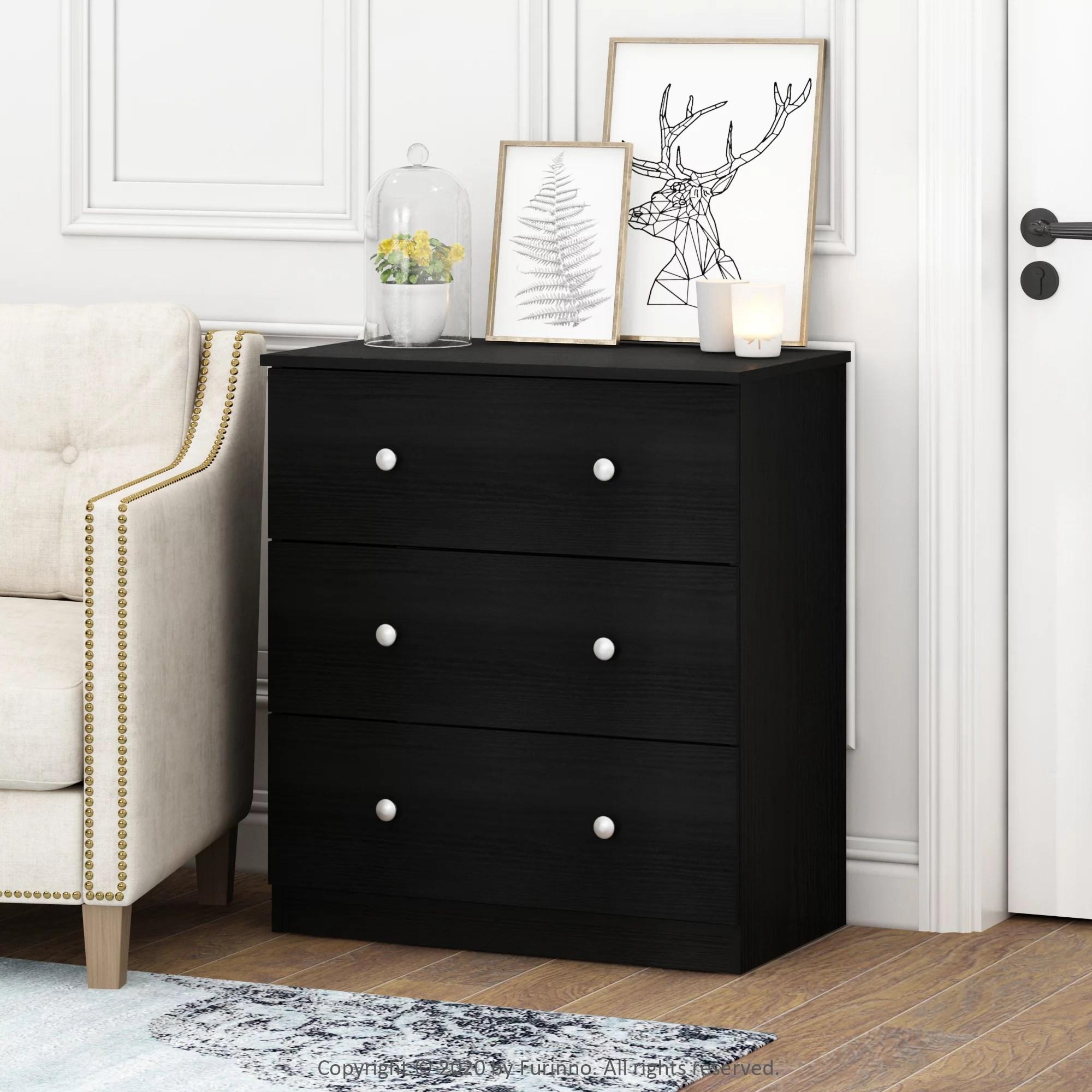 furinno lucca simple design 3 drawer dresser black oak