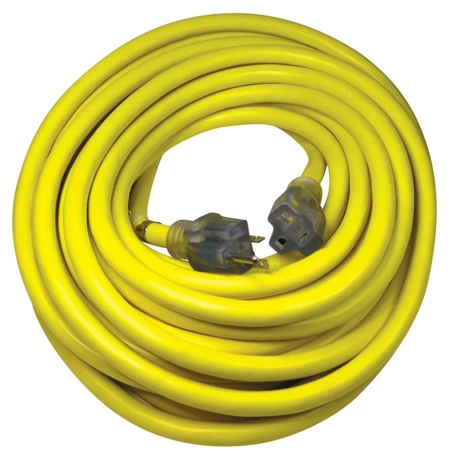 utilitech pro 50 ft 20 amp 125 volt 10 gauge yellow outdoor generator cord walmart com