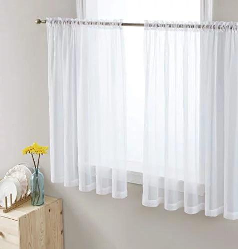 hlc me rideau de fenetre blanc panneaux de voile transparent pour petites fenetres cuisine salon et chambre a coucher 54 x 45 pouces de long