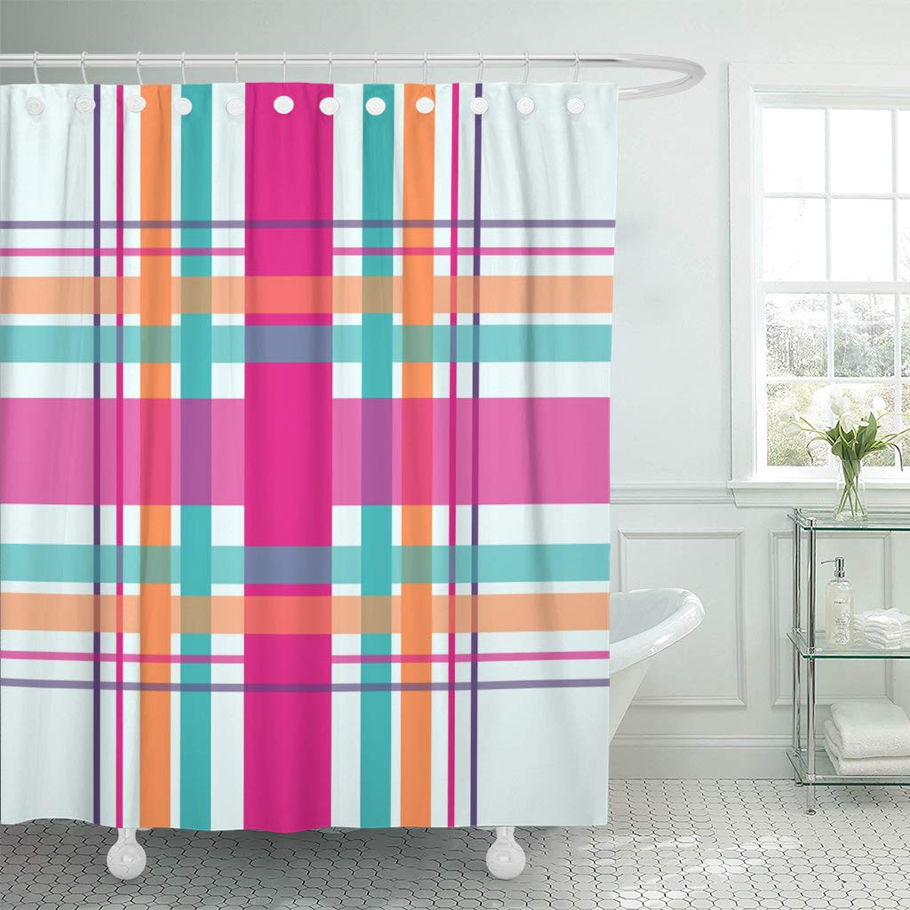 ksadk plaid checkered in bright colors of teal magenta pink orange and purple shower curtain bathroom curtain 66x72 inch
