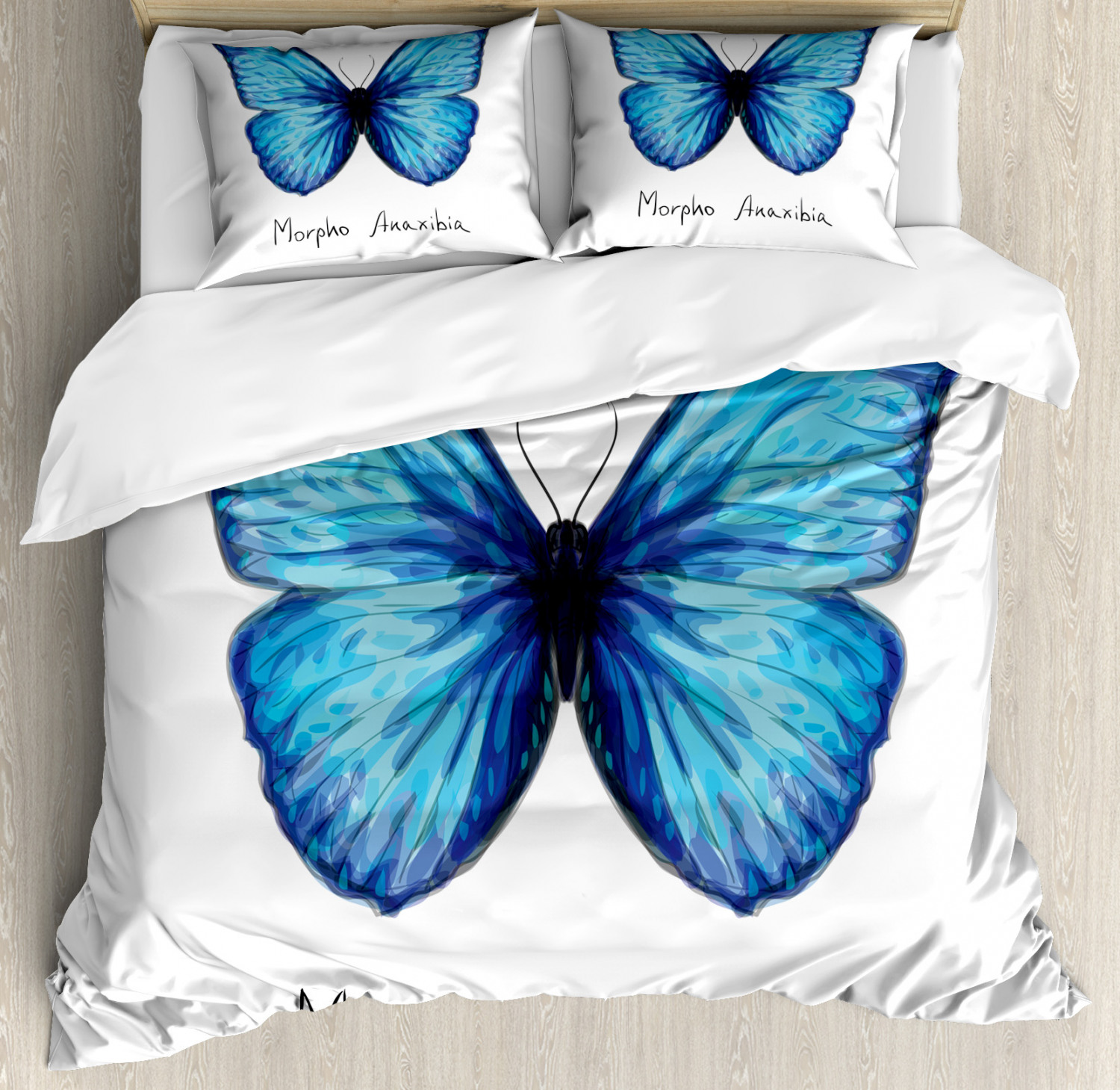 butterfly queen size duvet cover set watercolor style abstract butterfly figure in iridescent colors decorative 3 piece bedding set with 2 pillow