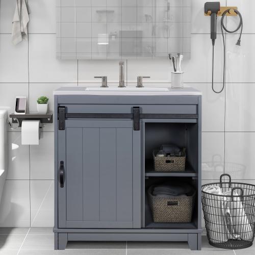 tophomer free standing bathroom vanity with sliding bars door and white sink vanity sink combo storage vanity cabinet bathroom sink fully