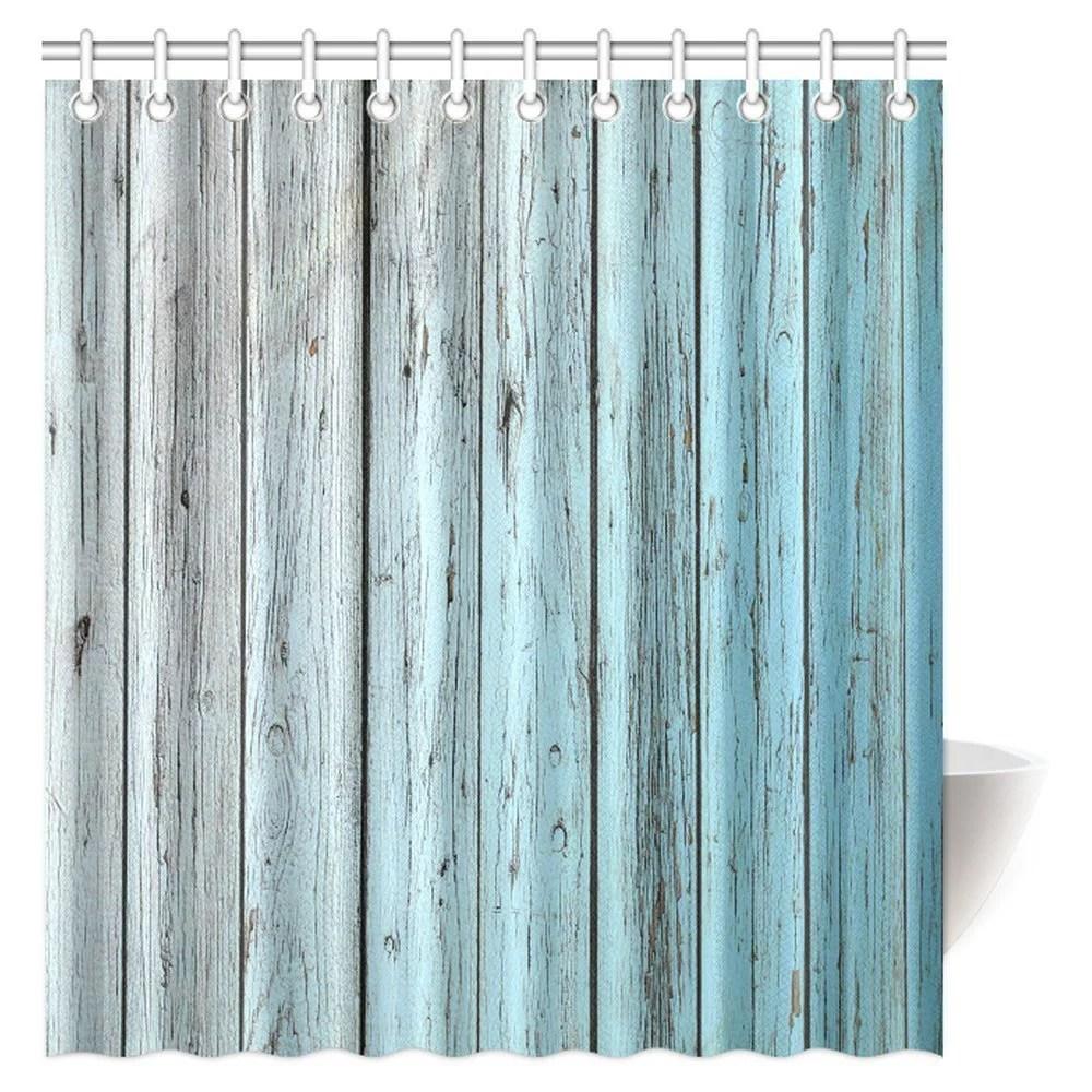 mypop village rustic wood panels fabric bathroom shower curtain decor set with hooks 66 x 72 inches teal grey walmart com