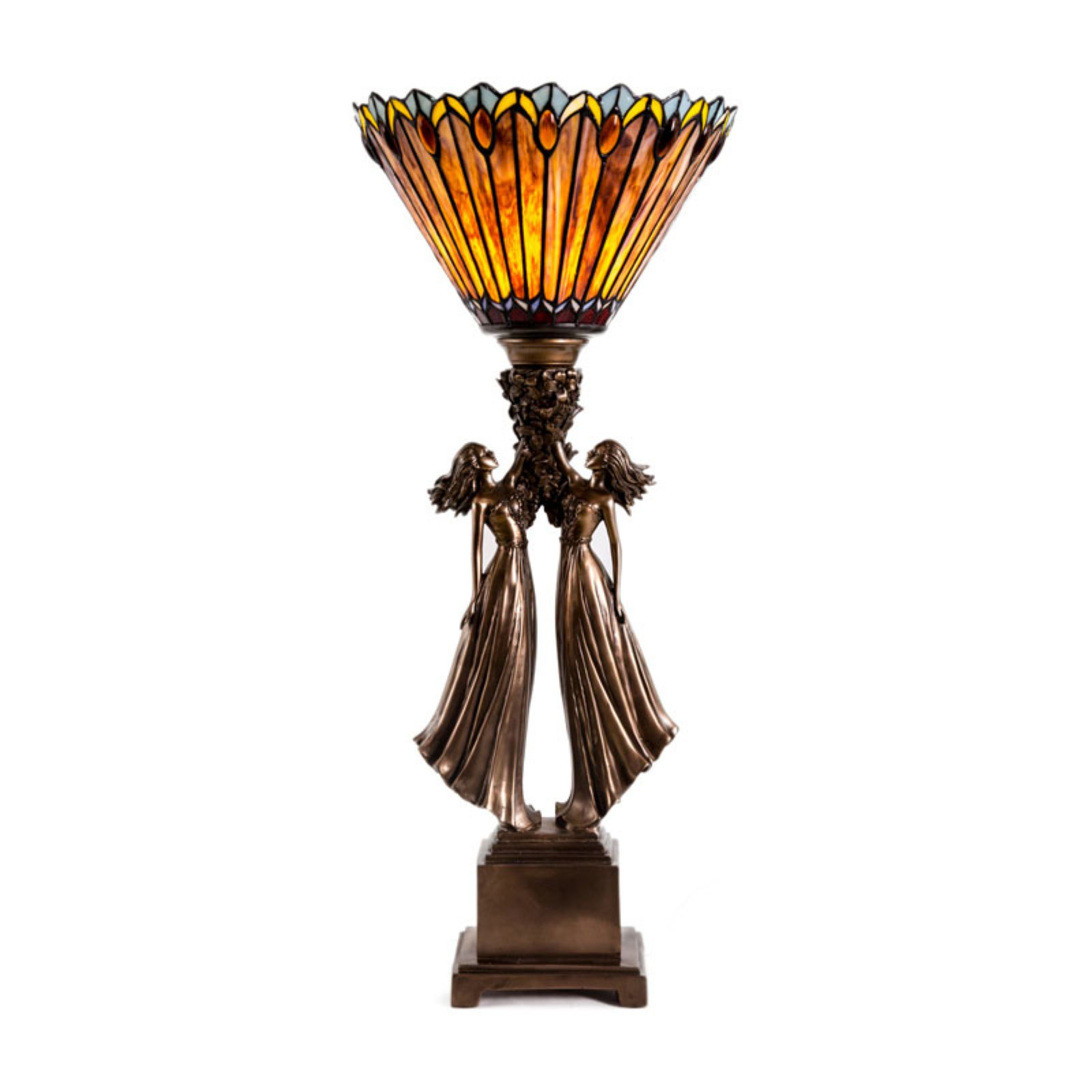 River Of Goods Stained Glass Art Deco Torchiere Table Lamp Walmart Com Walmart Com