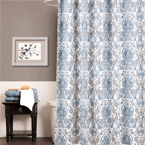 blue and tan scroll shower curtain