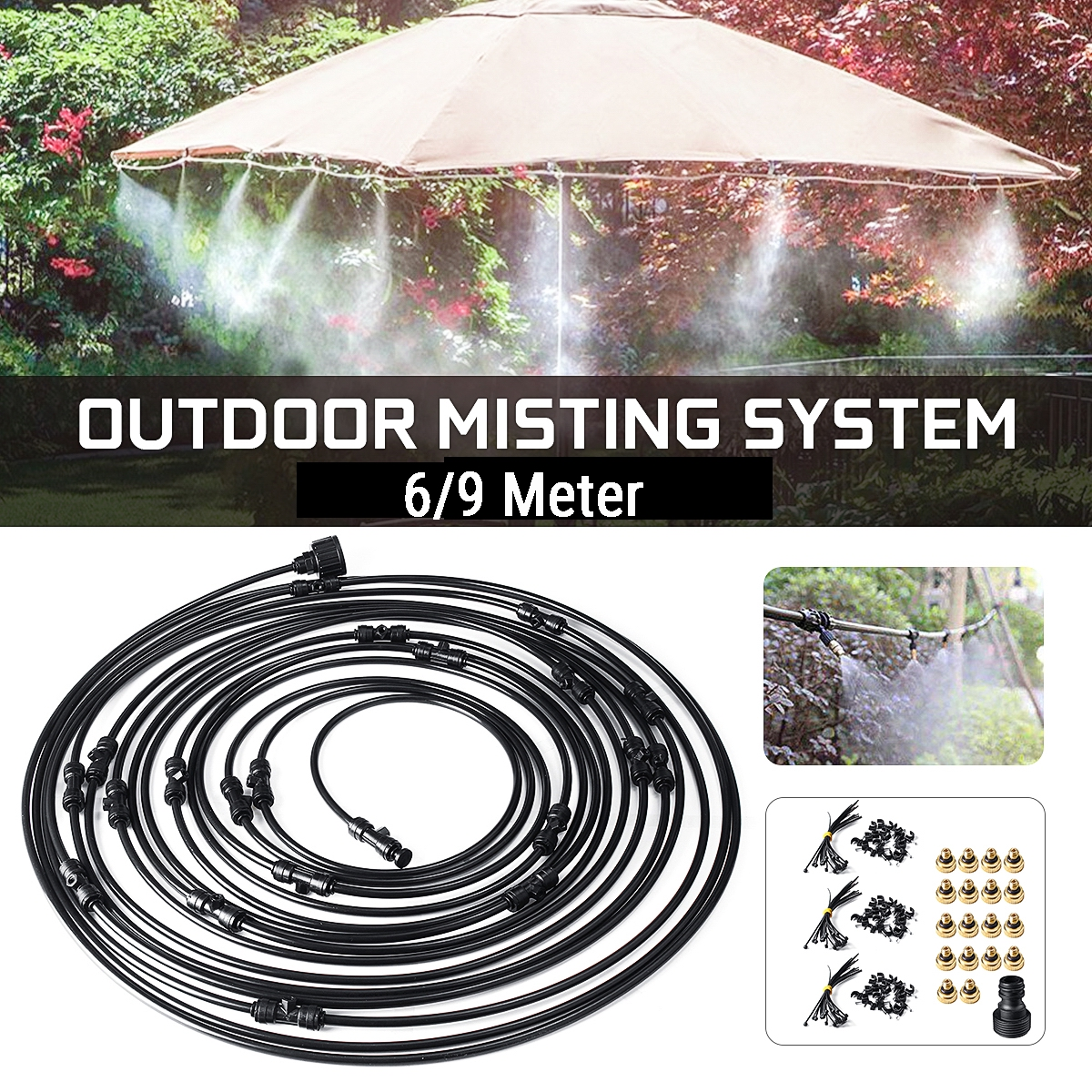 20 30ft outdoor misting cooling system cooler plants watering patio water mister mist nozzle for patio fan garden greenhouse misting trampoline for