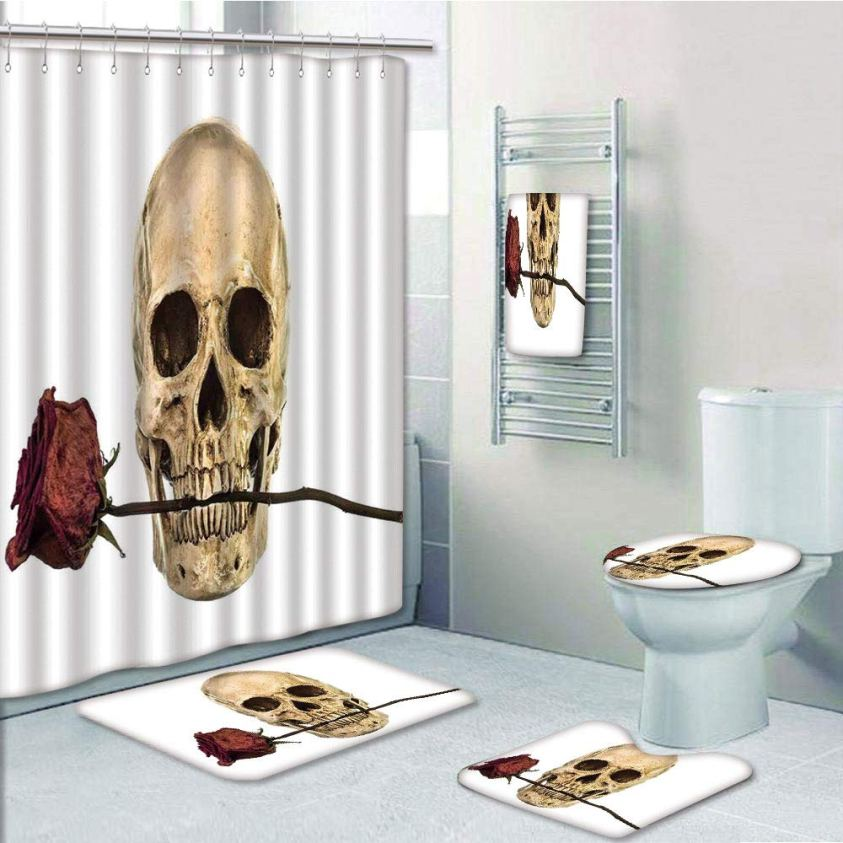 PRTAU Skull with Dry Red Rose in Teeth Anatomy Death Eye ...