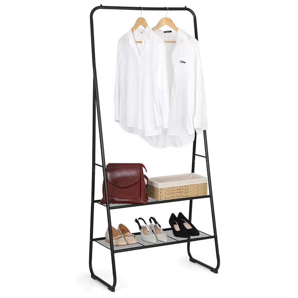 nex garment rack heavy duty clothes rack with hanging rod 2 tier shelf for bags shoes storage 24 8 l x 15 7 w x 66 5 h black nx hk53 02