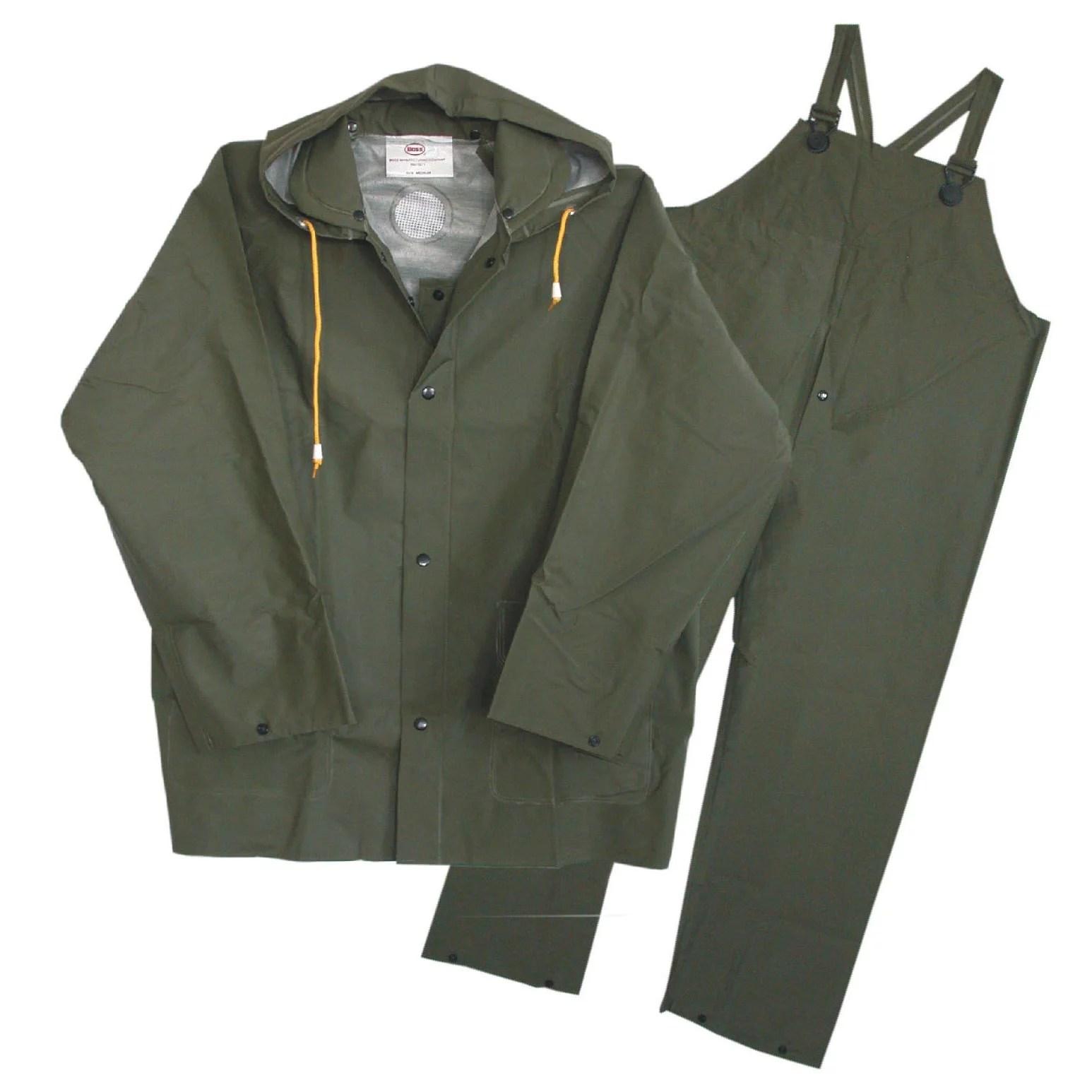 boss gloves 3 piece green lined rain suits