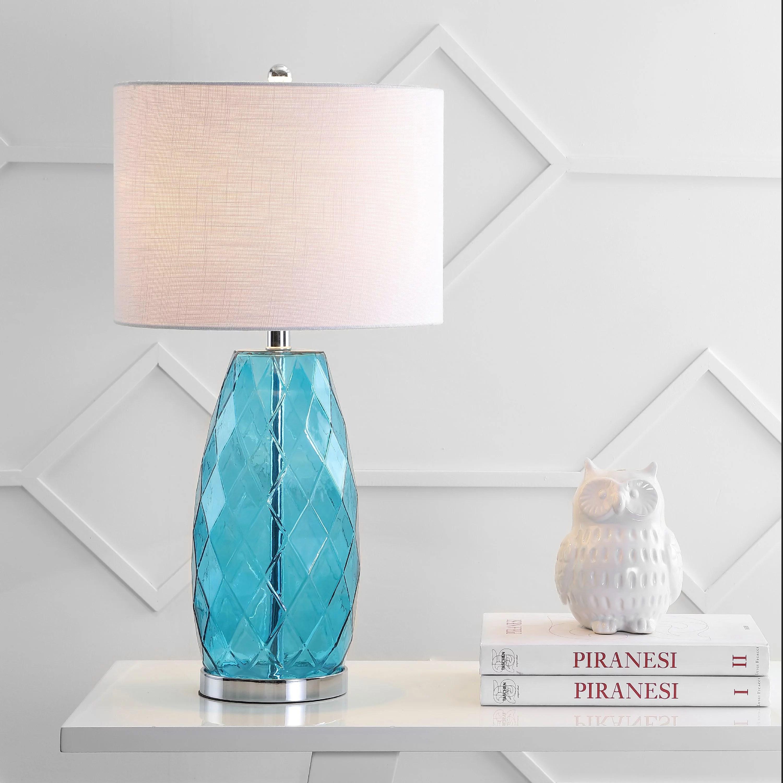 Juliette 26 5 Glass Metal Led Table Lamp Moroccan Blue Walmart Com Walmart Com