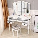 White Vanity Sets With Mirror And Bench Modern High End Vanity Desk Bedroom Vanity Table With Detachable Top 180 Rotating Mirror Makeup Dressing Table With Cushioned Stool For Women Q11022 Walmart Com