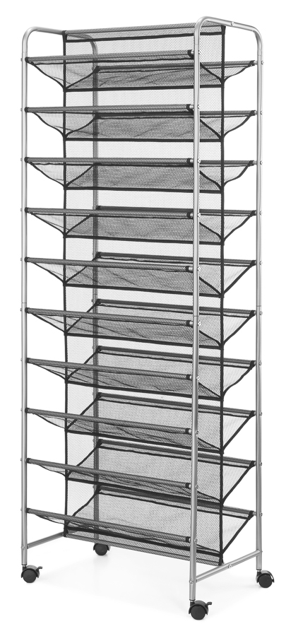 mainstays 10 tier mesh rolling shoe rack