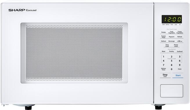 sharp smc1131cw countertop microwave with 1 1 cu ft capacity 1000 watts 11 25 turntable bezel less design in white