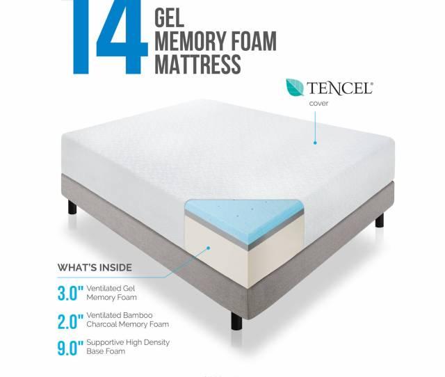Lucid 14 Memory Foam Mattress Triple Layer Multiple Sizes Walmart Com