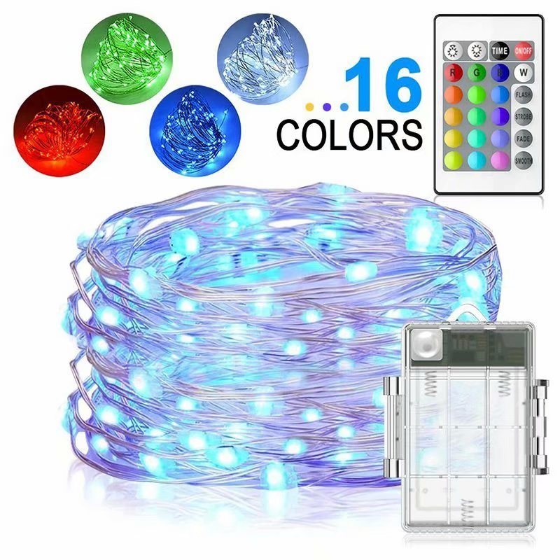 led string lights battery powered multi color changing string light 16 4ft copper wire firefly lights 50leds fairy lights with remote timer for indoor