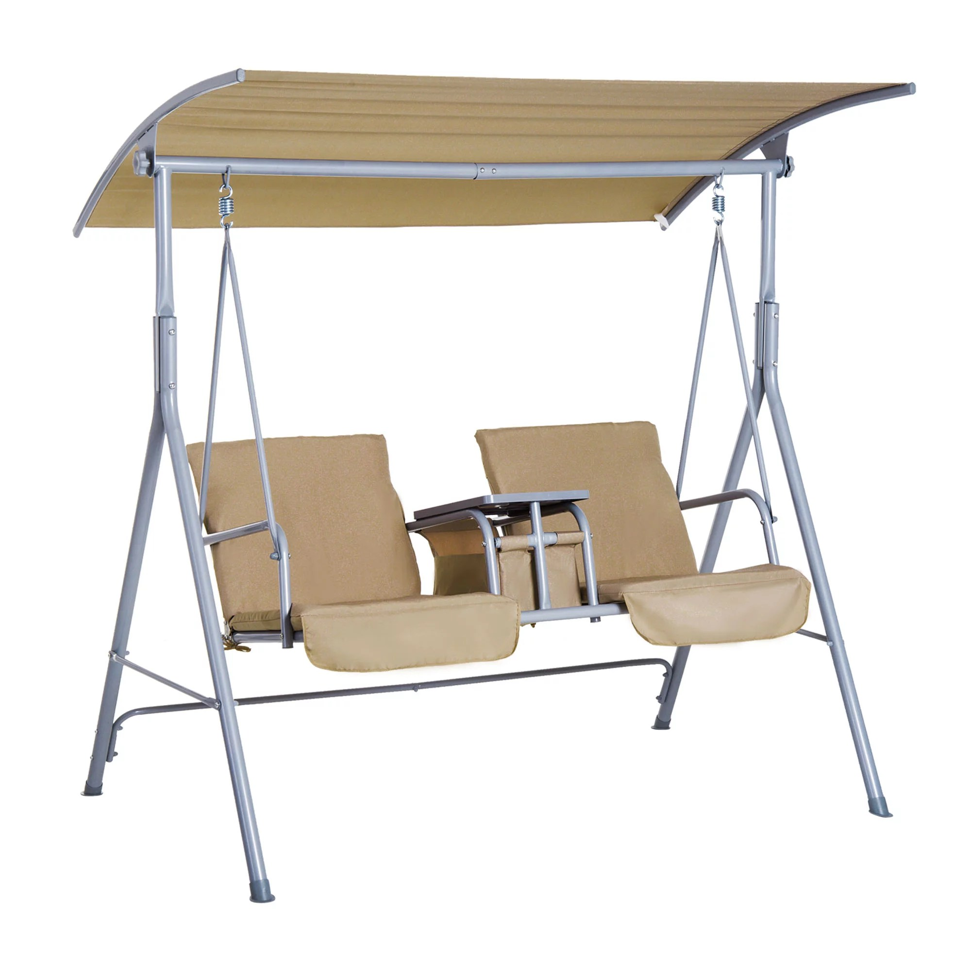 outsunny 2 person porch covered swing outdoor with canopy table and storage console