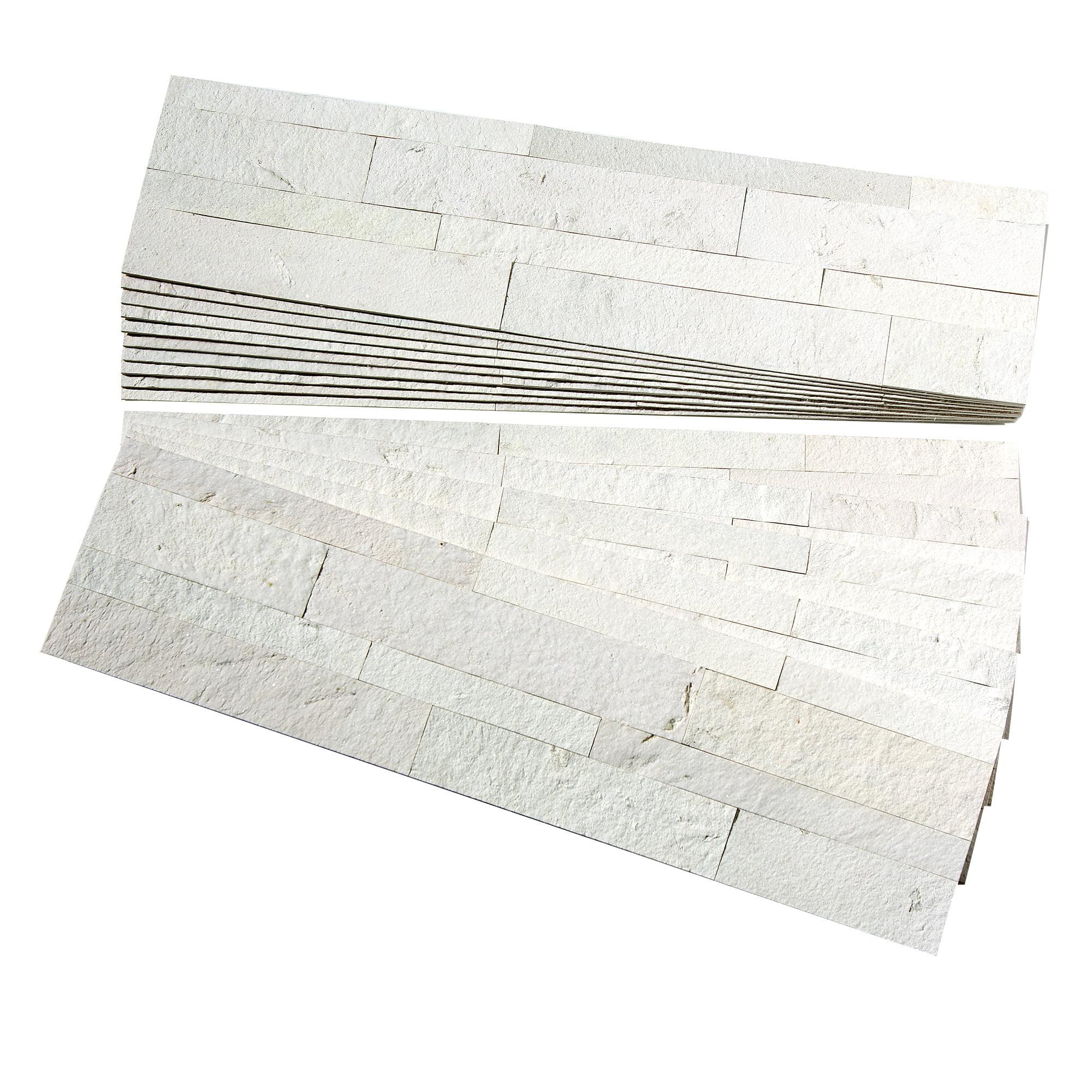 aspect peel and stick stone overlay kitchen backsplash ivory marble approx 15sq ft kit