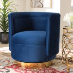 Baxton Studio Saffi Glam And Luxe Royal Blue Velvet Fabric Upholstered Gold Finished Swivel Accent Chair Walmart Com Walmart Com