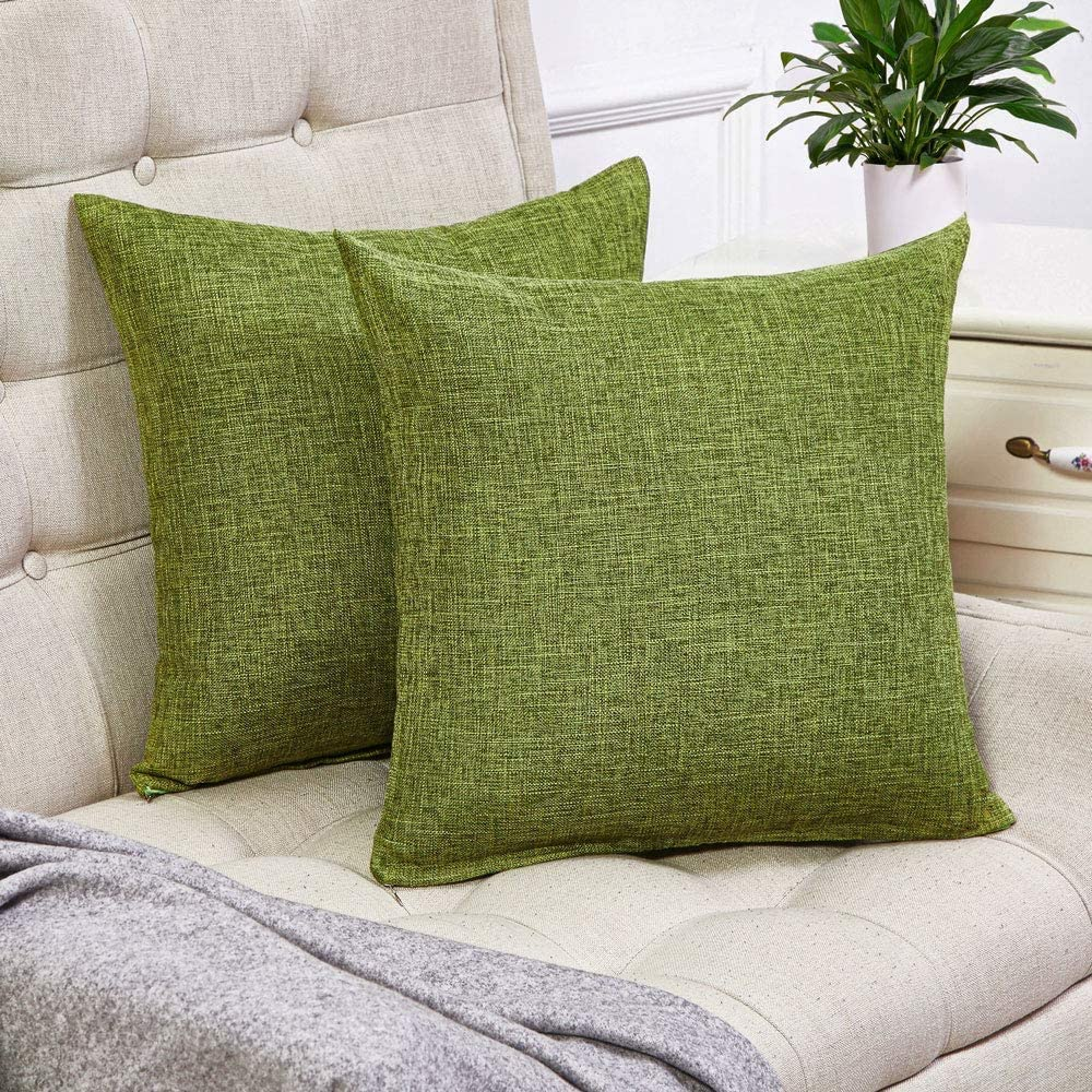 decorxset of 2 green pillow covers cotton linen decorative square throw pillow covers 24x24 inch for sofa couch home farmhouse decoration