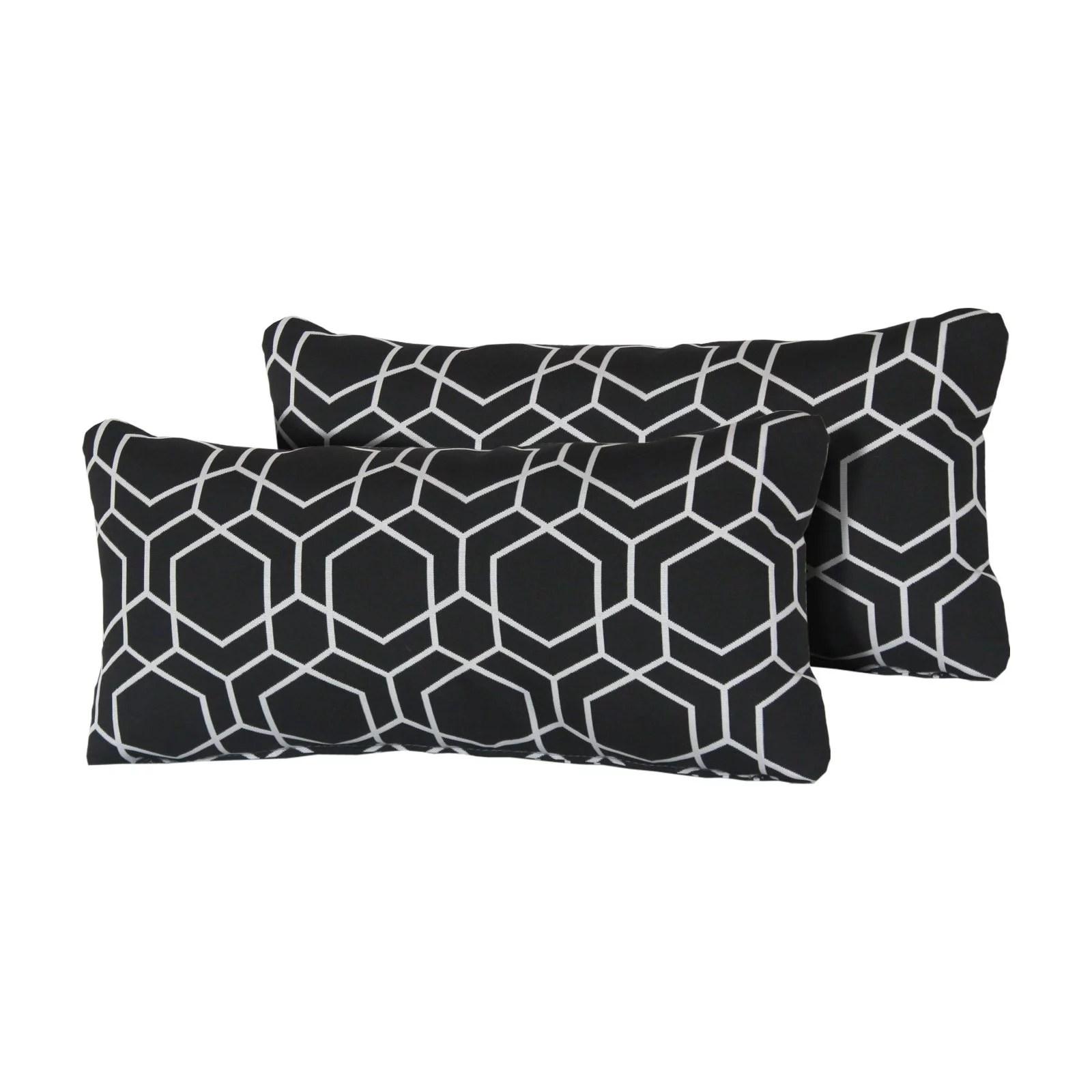 tk classics black hexagon 22 x 11 in outdoor throw pillow set of 2