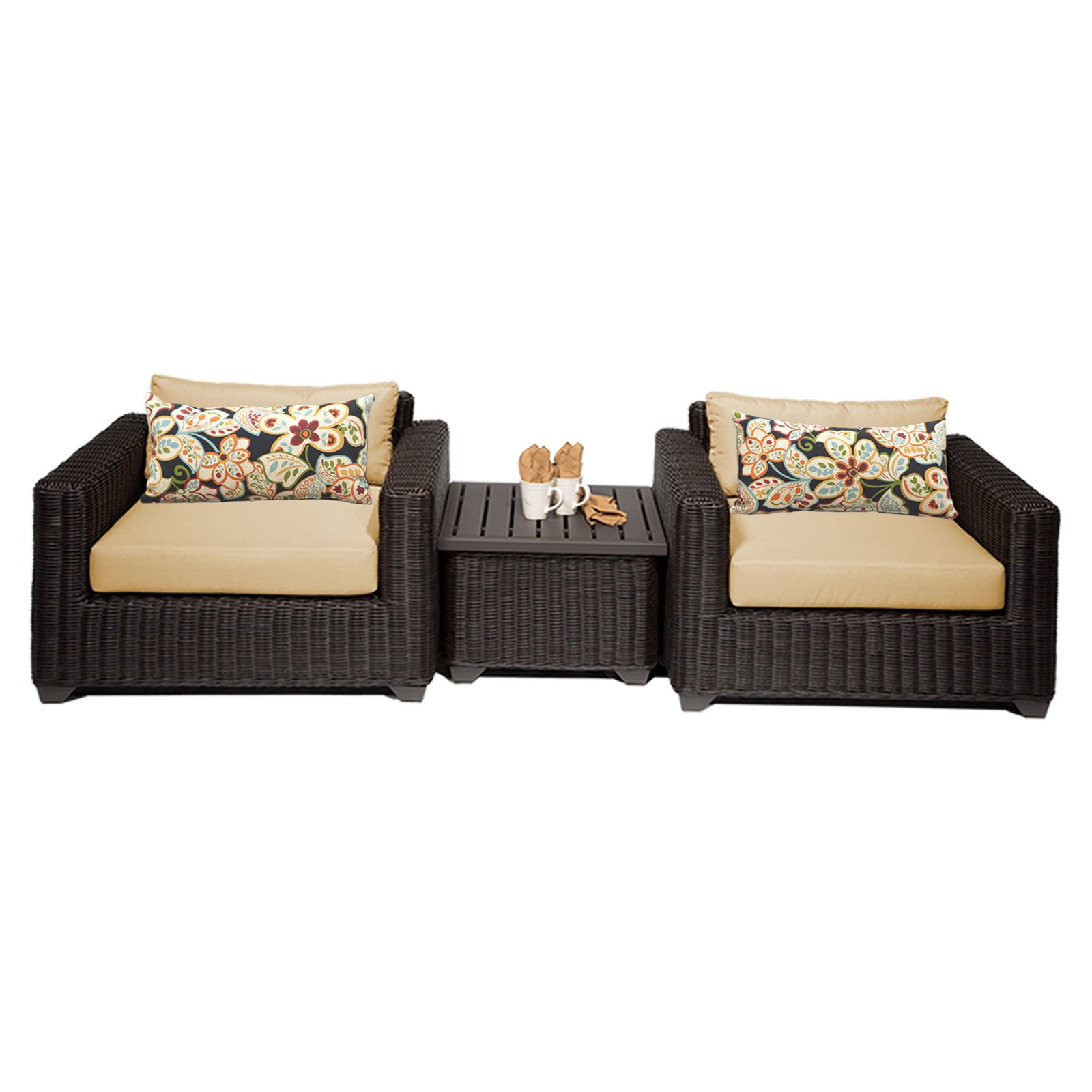 tk classics venice wicker 3 patio conversation set 3 Piece Patio Cushion Set id=99592