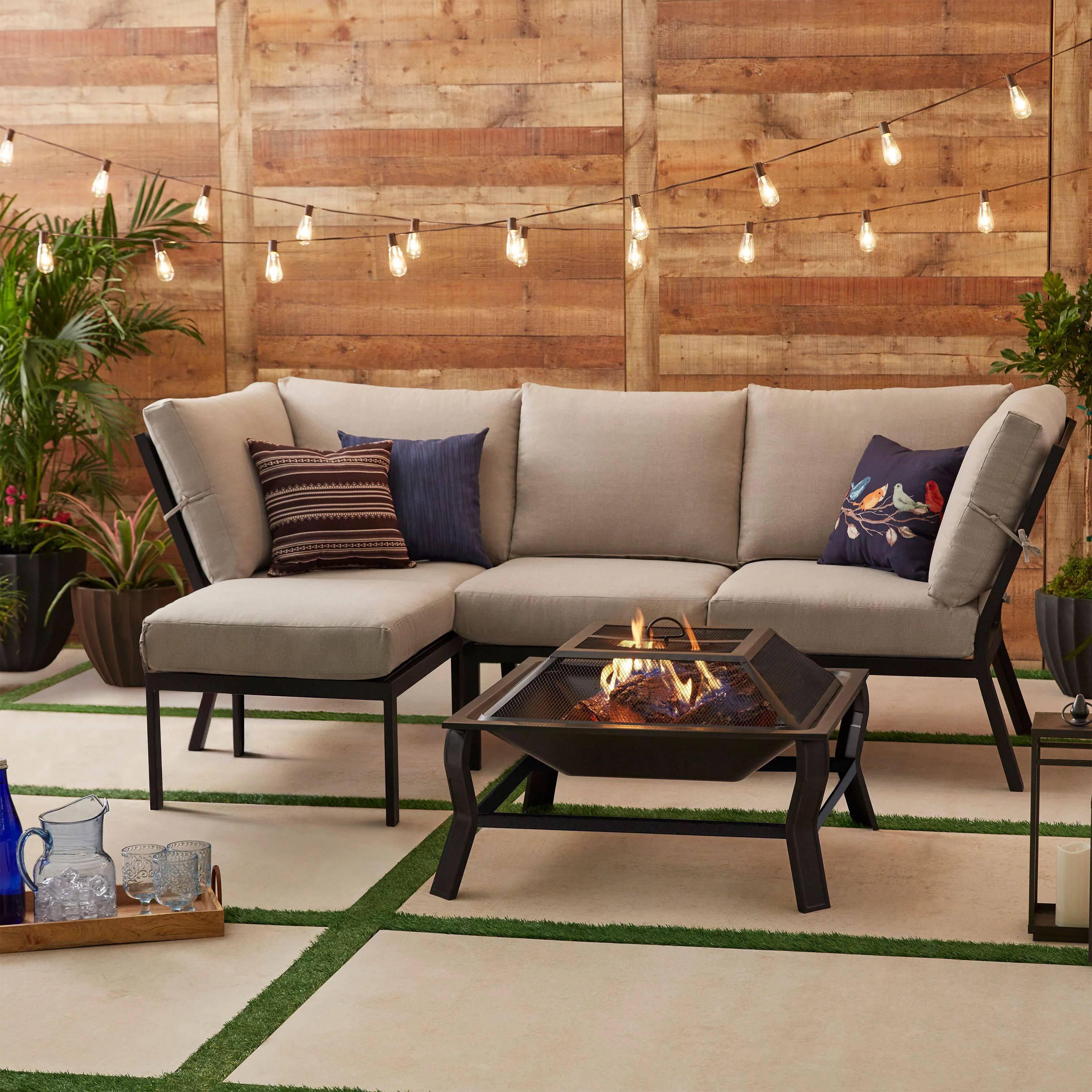 mainstays greyson square 4 piece outdoor patio sectional tan cushions and patio cover walmart com