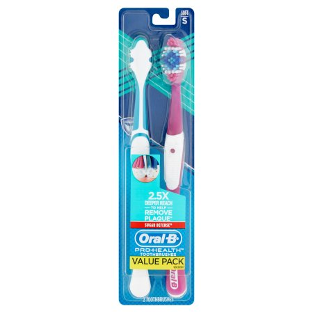 Oral-B Pro Health Sugar Defense Soft Toothbrushes Value Pack, 2 count