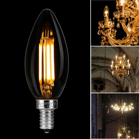 Luminwiz 6 Pack 4w 2700k Dimmable Led Candelabra Bulbs E12 Base Filament Chandelier Light